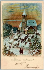 1904 France NEW YEAR Postcard Bonne Annee! Church Scene /Reflective Copper Sky