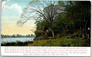 1912 Illinois Postcard River Entrance & STARVED ROCK, Formerly Fort St. Louis
