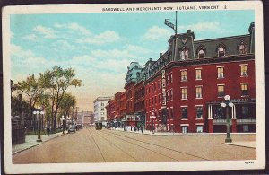 P1419 old unused postcard old cars signs bardwell & merchant ave rutland vermont