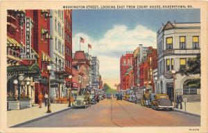 Hagerstown Maryland~Washington Street East @ Court House~Hamilton Hotel~1937 Pc