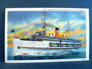 Postcard CA Catalina Islands Steamer Catalina 1930's Linen