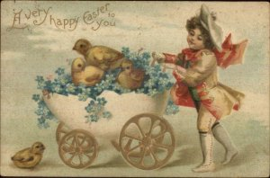 Easter - Unsigned Clapsaddle? - Chicks in Egg Shell Carriage c1910 Postcard