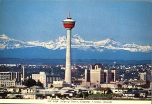 Calgary AB, Alberta, Canada - The Calgary Tower in Canadian Rockies