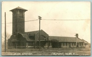 Fremont Nebraska~ITalianate Tower @ End of Union Train Depot RPPC c1910 Postcard