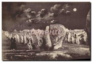 Old Postcard Dolmen Menhir Carnac Menec alignments moonlight