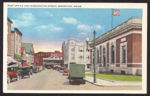 Washington Street & Post Office Biddeford ME unused c1920's