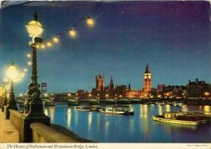 House of Parliment Big Ben Thames River night view pm 1978 London UK Postcard