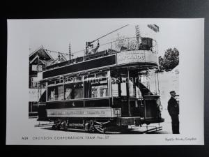 London Tram CROYDON CORPORATION TRAM 57 c1962 Pamlin Print Postcard M24