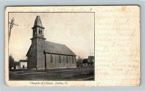 Delta OH, Church Of Christ, Vintage Ohio c1908 Postcard