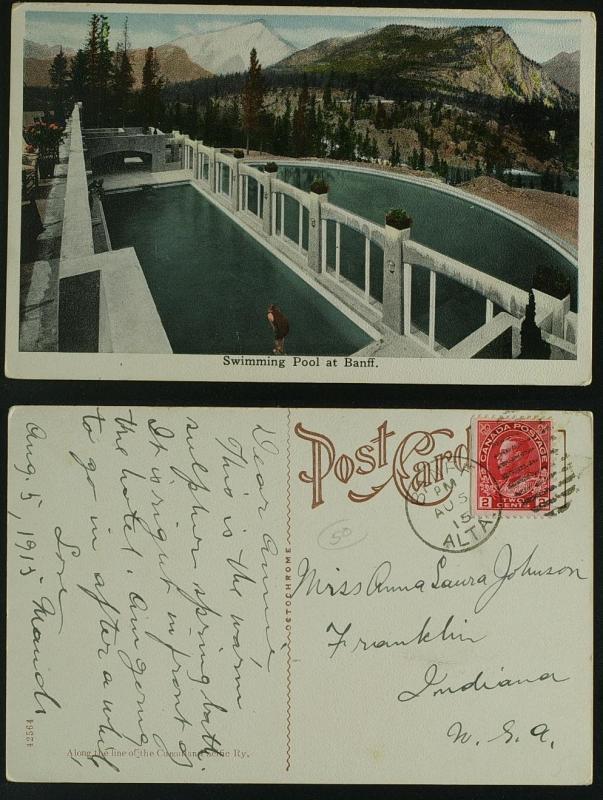 Swimming Pool at Banff  duplex pmk admiral 1915