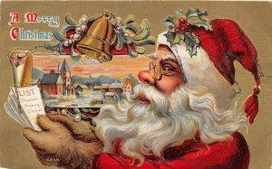 G3/ Santa Claus Christmas Postcard c1910 Spectacles List Bells 9