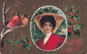 CHRISTMAS; A Merry Christmas, Portrait of woman wearing hat, Sparrows, Holly,...