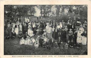 G29/ Turtle Lake Minnesota Postcard c1910 Maccabee-Woodmen Picnic