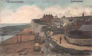 The Beach & Pier, Rottingdean, England, Early Hand Colored Postcard, Used