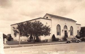 Harlingen Texas~Post Office~Sidewalk Posters~1930s Cars~Real Photo Postcard~RPPC
