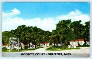 GULFPORT, Mississippi  MS ~ Roadside MOODY'S COURT Motel ca 1950s  Postcard