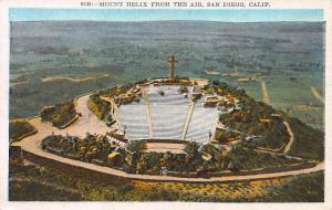 Mount Helix from the Air, San Diego, California, Early Postcard, Unused