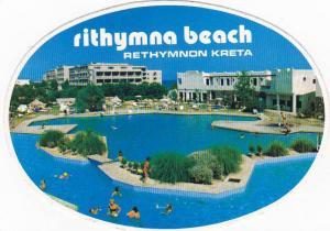 CYPRUS RETHYMNON RITHYMNA BEACH HOTEL VINTAGE LUGGAGE LABEL