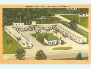 Unused Linen OLD CARS & TROPICAL PALMS COURT MOTEL Ft. Fort Myers FL u8666-22