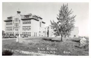 North Dakota ND Postcard Real Photo RPPC c1940s MOHALL High School Building