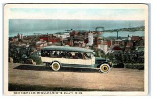 Early 1900s Sightseeing Car on Boulevard Drive, Duluth, MN Postcard