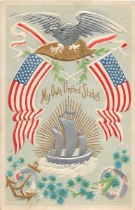 F64/ Patriotic Postcard c1910 My Own United States Flag Eagle 14