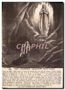 Old Postcard Lourdes Apparition of the Virgin