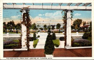 Michigan Mt Clemens The Park Hotel From Boat Landing 1922 Curteich