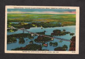 NY Bridge Collins Landing New York ON Ivy Lea Ontario Canada Carte Postale PC