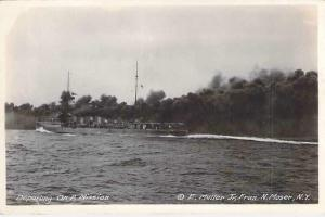 Departing On A Mission Destroyer US Navy Real Photo Postcard RPPC