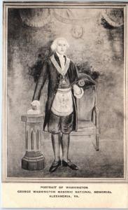 ALEXANDRIA, VA  PORTRAIT of G WASHINGTON at MASONIC MEMORIAL   c1910s   Postcard