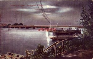 CONNECTICUT RIVER, SPRINGFIELD, MA excursion boat at dock in moonlight 1907