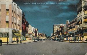 Jefferson City MO~High Street Night Lights~JC Penney~Feinstein's~1946 Postcard