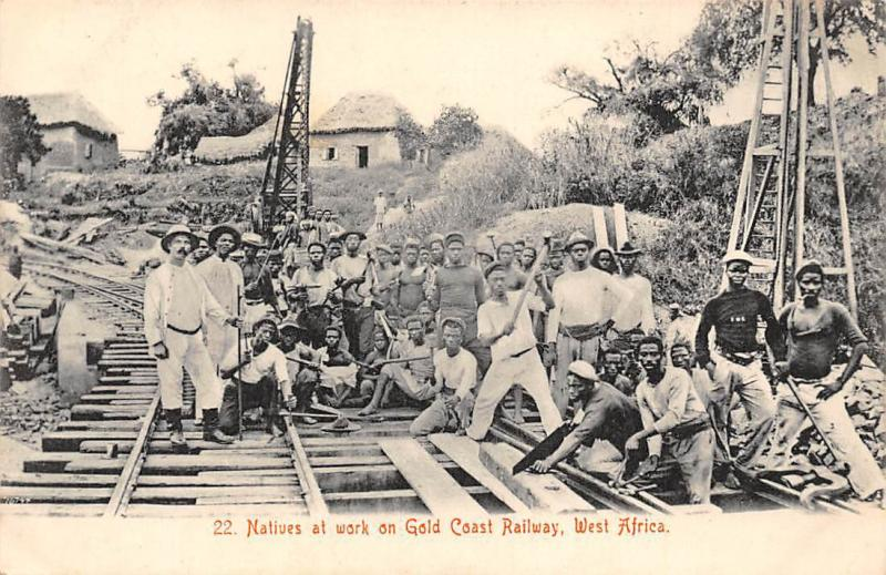 Ghana Gold Coast Natives at work on railway postcard