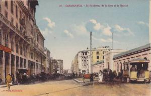 Horse Carriages, Trolley, Le Boulevard de la Gare et le Marche, Casablanca, M...