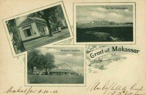indonesia, CELEBES SULAWESI MAKASSAR, KNIL Fort Rotterdam Cantine 1901 Postcard