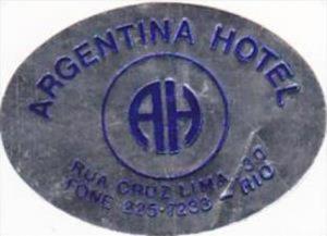 BRASIL RIO ARGENTINA HOTEL VINTAGE LUGGAGE LABEL