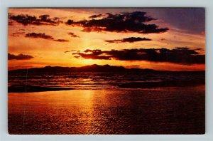 Salt Lake City UT- Utah, Sunset Over Great Salt Lake, Aerial, Chrome Postcard