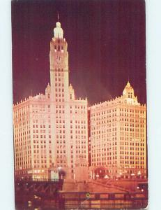 Pre-1980 WRIGLEY BUILDING AT NIGHT Chicago Illinois IL ho1314