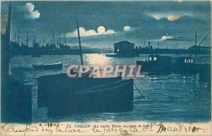 Old Postcard Old Toulon Darse Moonlight Boat