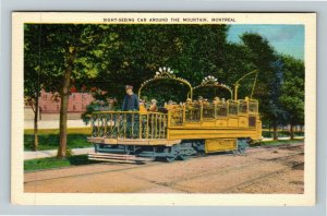 Montreal QC Quebec Canada, Sight Seeing Car Around The Mountain, Linen Postcard