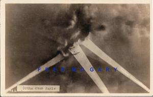 1917 Paris France Photo: German Biplane Bomber in Multiple Searchlights