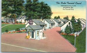 Atlanta, Georgia Postcard THE OAKS TOURIST COURT Motel Roadside Linen c1950s