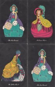 Green Swirly Fashion 4x Edwardian WW2 Glamour Art Postcard s