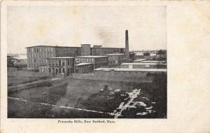 New Bedford Massachusetts~Potomska Mills~Tall Smoke Stack~c1905 B&W Postcard