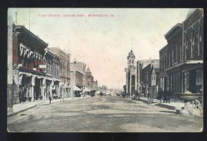 MONTICELLO IOWA DOWNTOWN FIRST STREET SCENE VINTAGE POSTCARD MARSHALL MO.