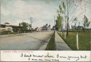 Central Park Allentown PA, Early 1906,Vintage Postcard