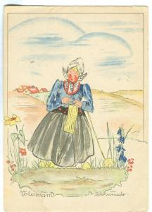 Volendam, Dutch woman with traditional cloths, painting