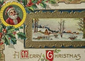 Old DB Embossed Gilded Christmas Postcard M.L. Jackson Santa Smoking Pipe 1911