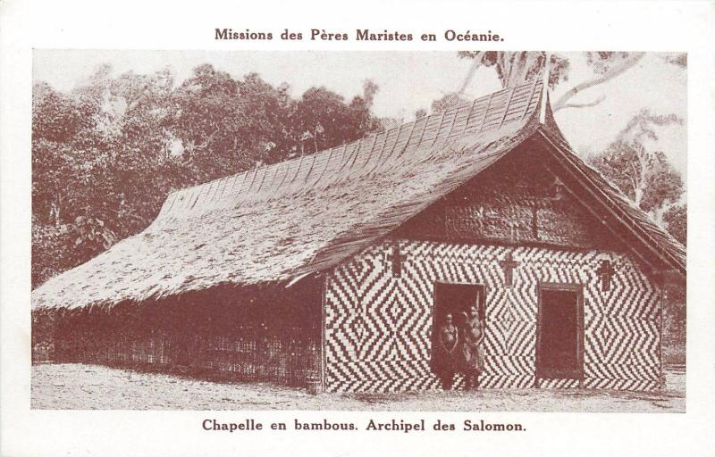 Solomon archipelago Pacific Islands bamboo chapel native girls in front Oceania
